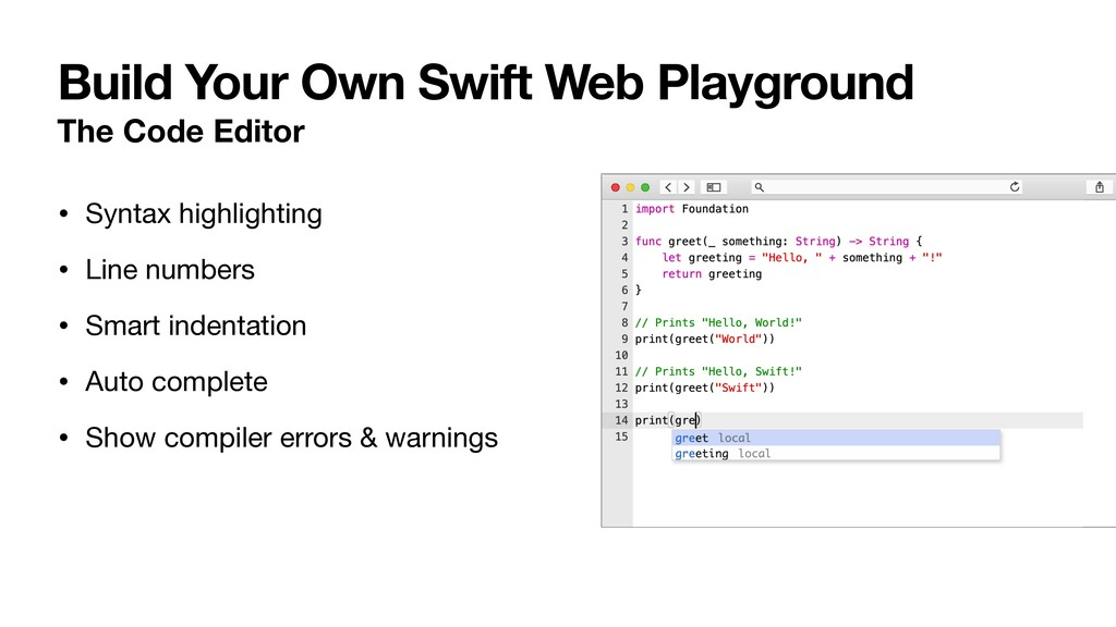 • Syntax highlighting  • Line numbers  • Smart ...