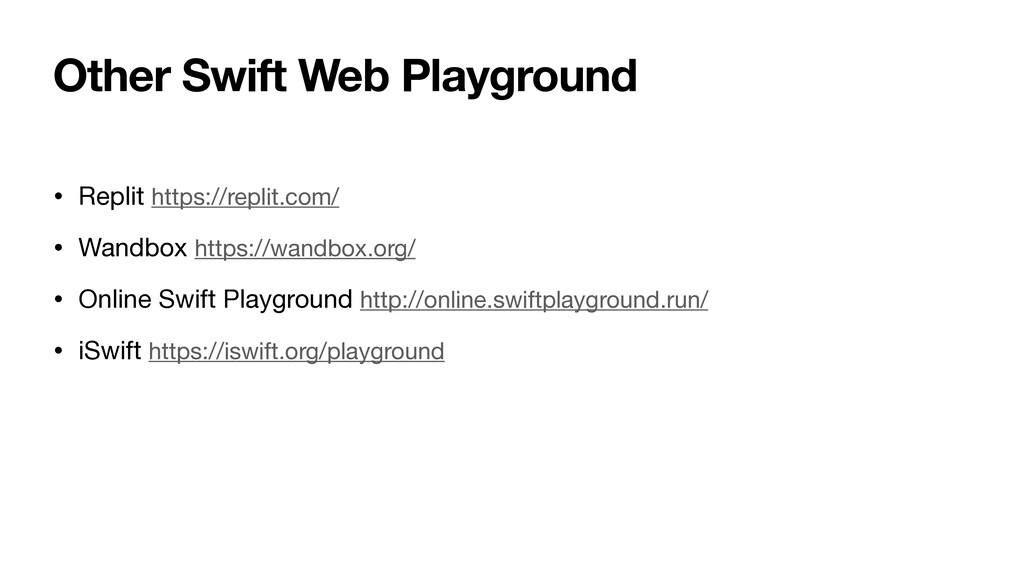 Other Swift Web Playground • Replit https://rep...