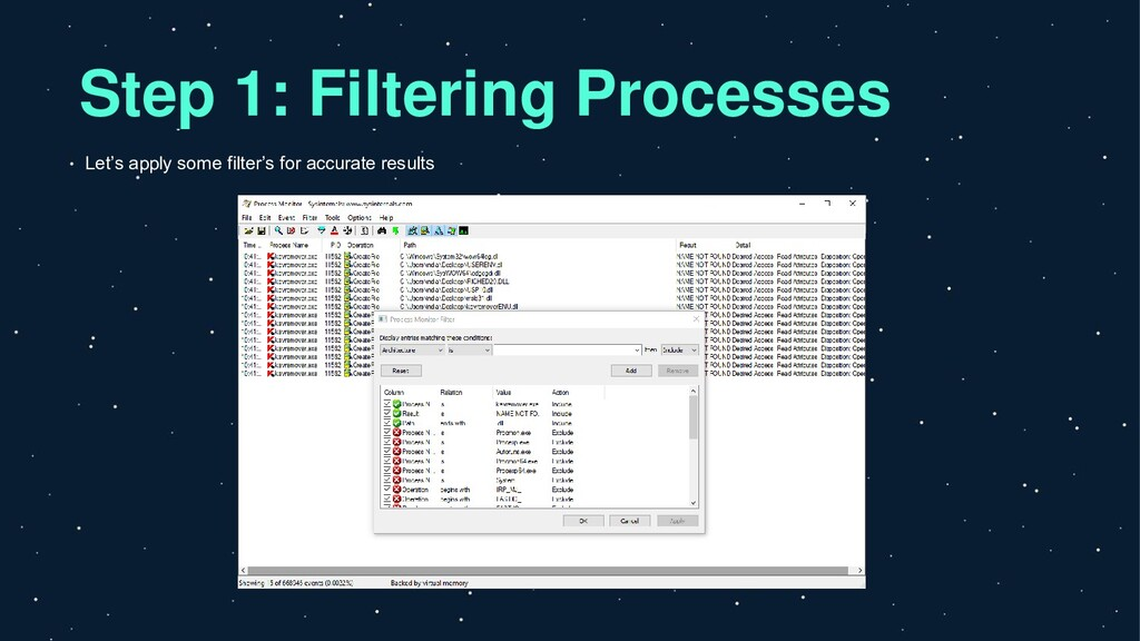 Step 1: Filtering Processes Let's apply some fi...
