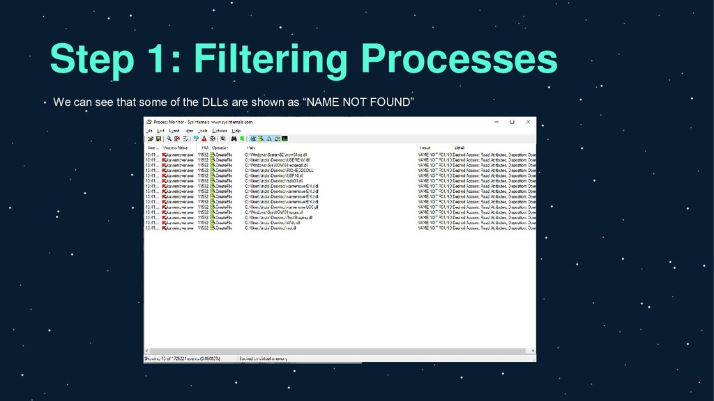 Step 1: Filtering Processes We can see that som...