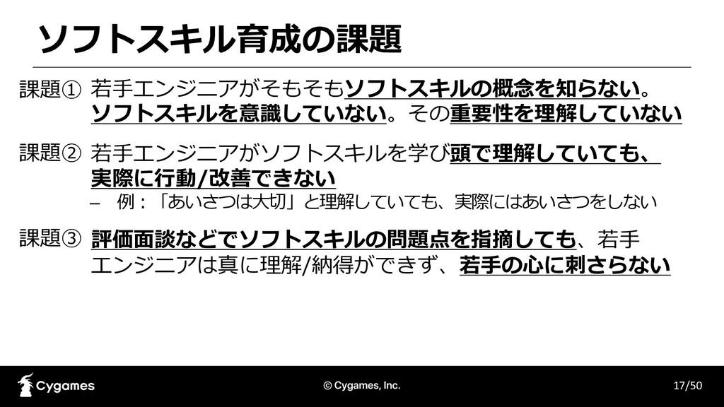 ソフトスキル育成の課題 17/50 1. 若⼿エンジニアがそもそもソフトスキルの概念を知らない...