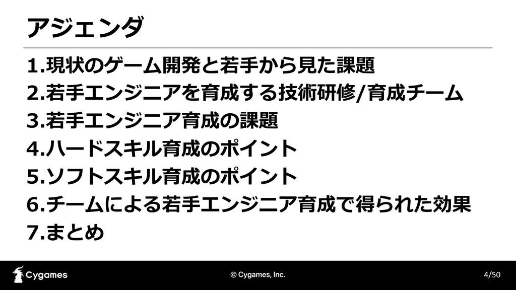アジェンダ 4/50 1.現状のゲーム開発と若⼿から⾒た課題 2.若⼿エンジニアを育成する技術...