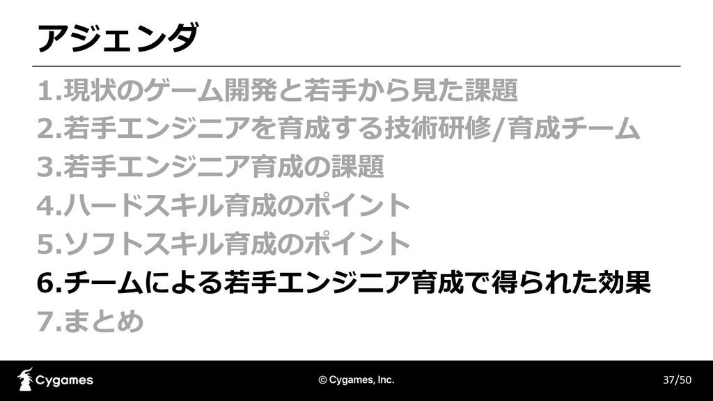 アジェンダ 37/50 1.現状のゲーム開発と若⼿から⾒た課題 2.若⼿エンジニアを育成する技...