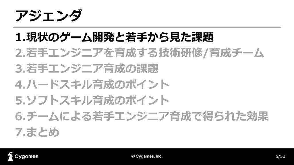 アジェンダ 5/50 1.現状のゲーム開発と若⼿から⾒た課題 2.若⼿エンジニアを育成する技術...