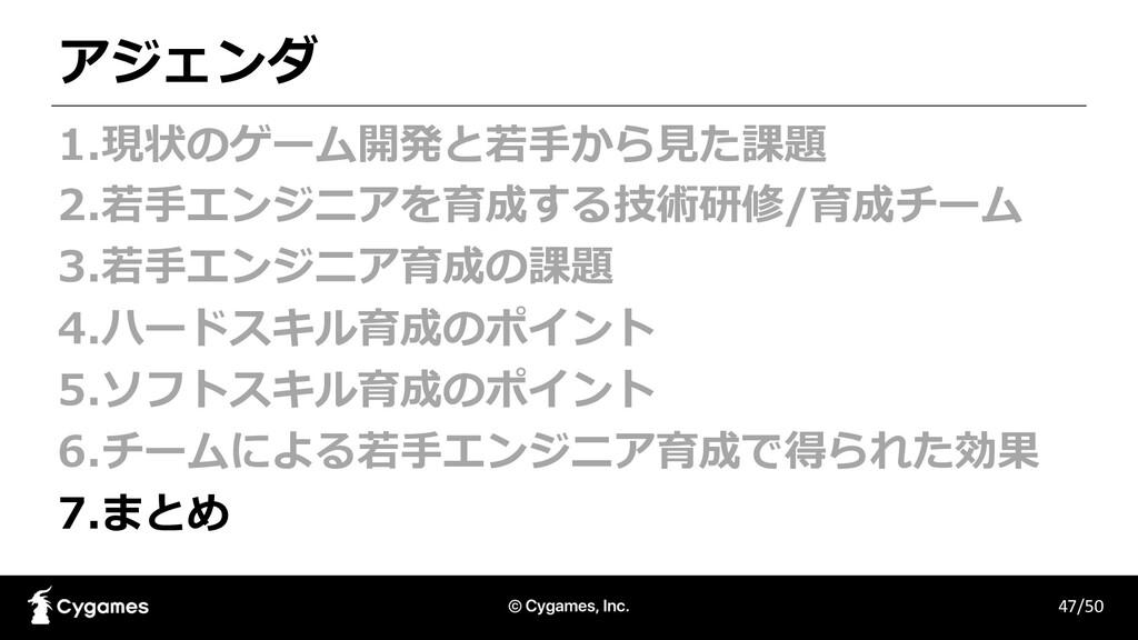 アジェンダ 47/50 1.現状のゲーム開発と若⼿から⾒た課題 2.若⼿エンジニアを育成する技...