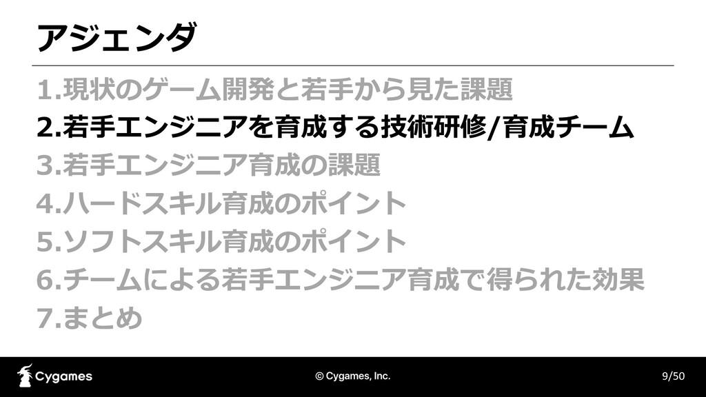 アジェンダ 9/50 1.現状のゲーム開発と若⼿から⾒た課題 2.若⼿エンジニアを育成する技術...