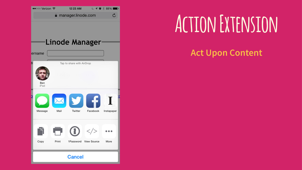 Action Extension Act Upon Content