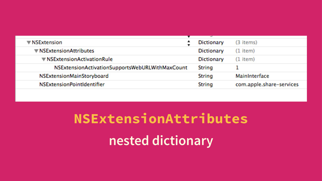 NSExtensionAttributes nested dictionary