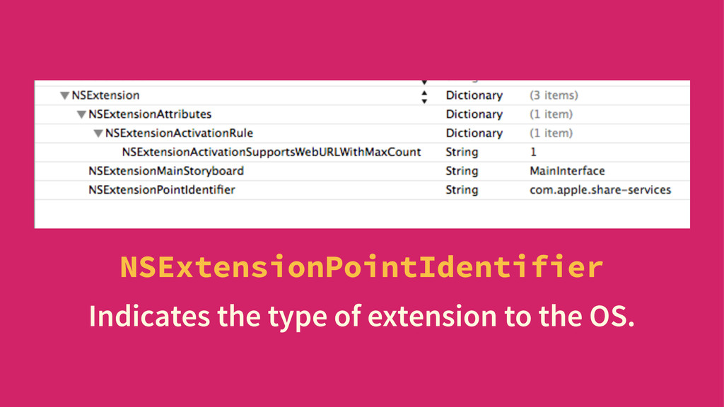 NSExtensionPointIdentifier Indicates the type o...