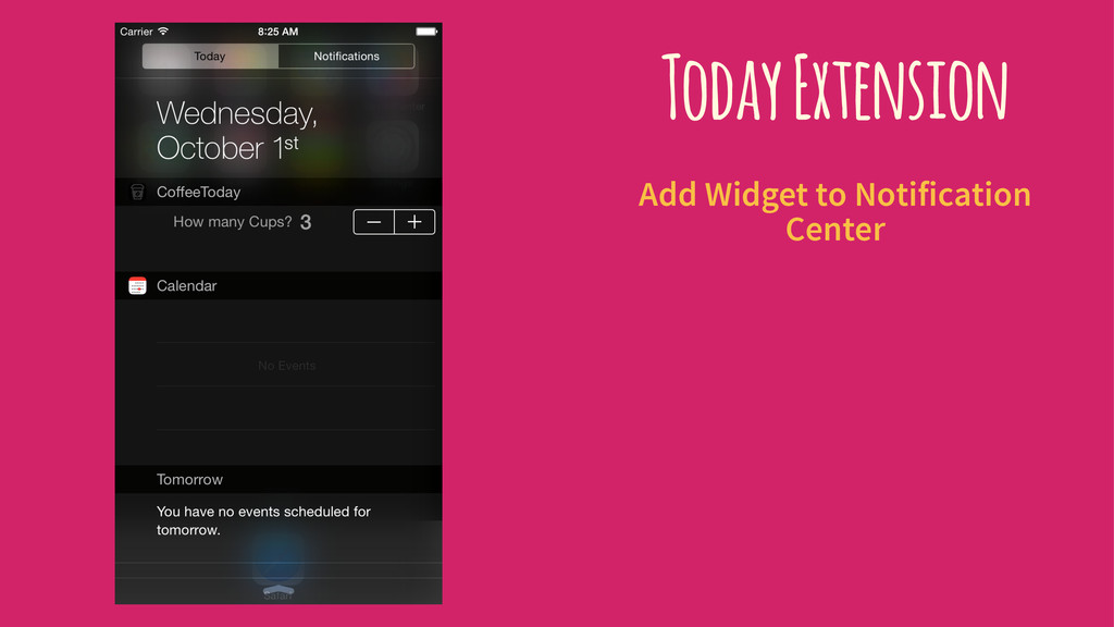 Today Extension Add Widget to Notification Cent...