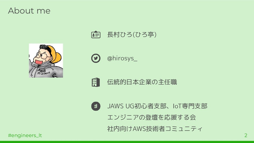 #engineers_lt 2 About me 長村ひろ(ひろ亭) @hirosys_ 伝統...