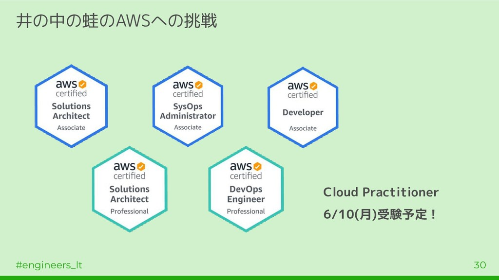 #engineers_lt 30 井の中の蛙のAWSへの挑戦 Cloud Practition...