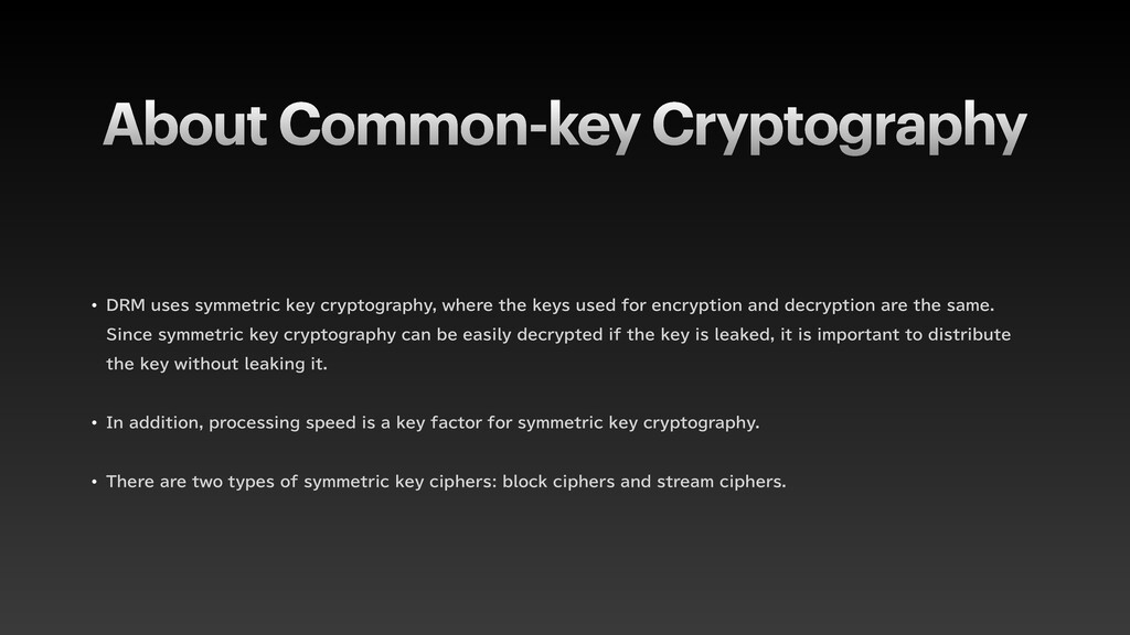 About Common-key Cryptography w %3.VTFTTZNNFU...