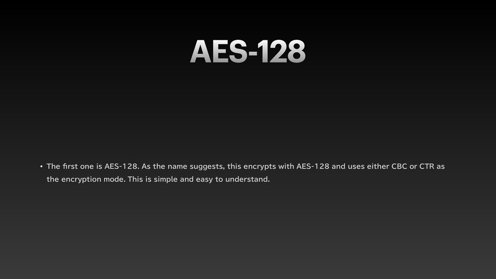 "AES-128 w 5IF fi STUPOFJT""&4""TUIFOB..."
