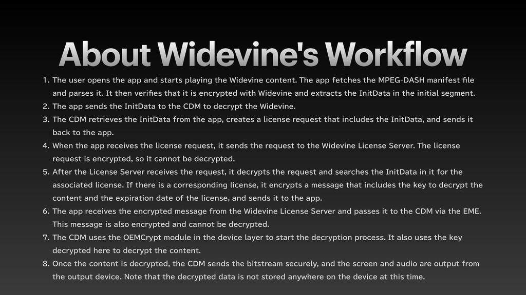 About Widevine's Work f low  5IFVTFSPQFOTU...