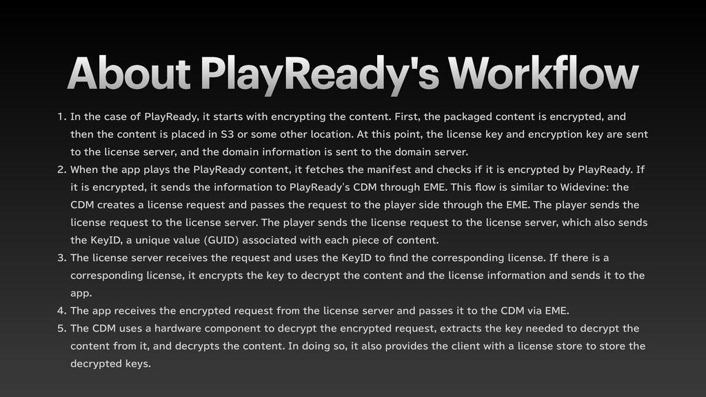 About PlayReady's Work f low  *OUIFDBTFPG...