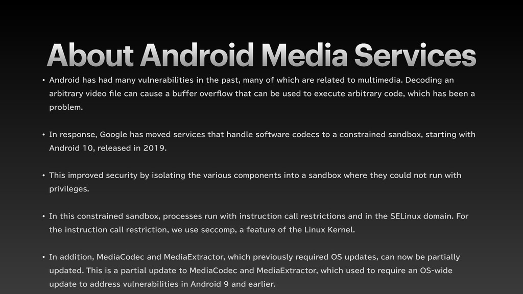 """About Android Media Services w """"OESPJEIBTIBE..."""