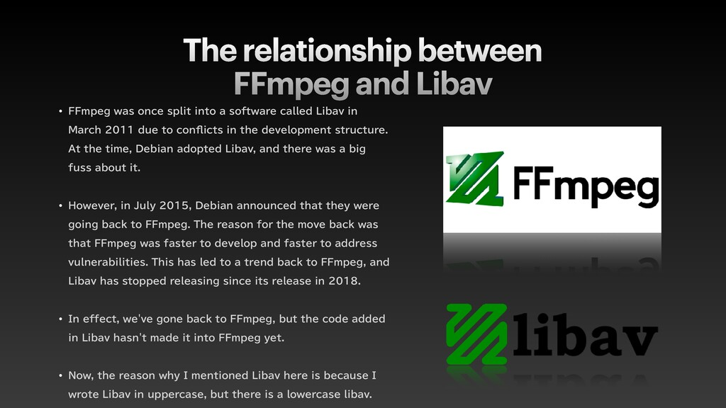 The relationship between  FFmpeg and Libav w '...