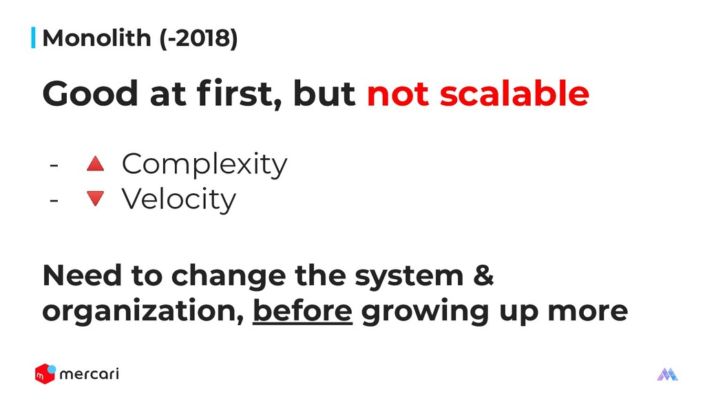 Monolith (-2018) Good at first, but not scalable...