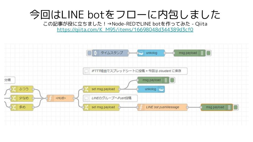 今回はLINE botをフローに内包しました この記事が役に立ちました!→Node-REDでL...