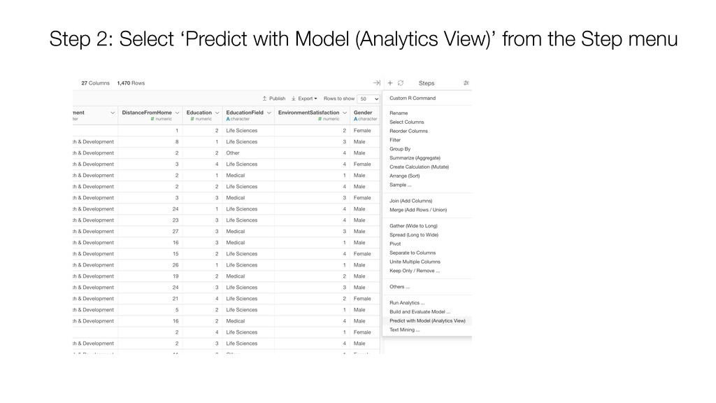 Step 2: Select 'Predict with Model (Analytics V...