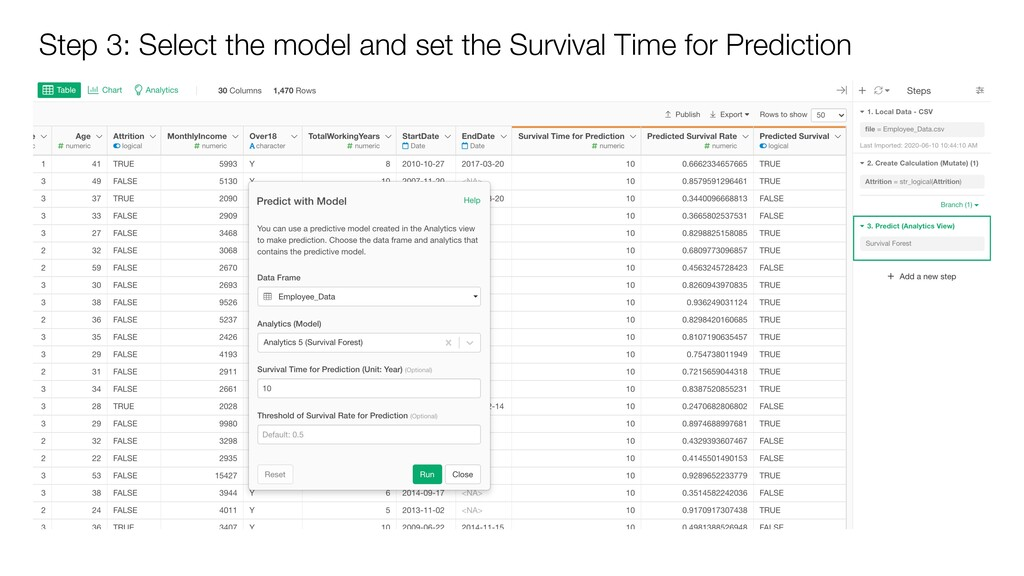 Step 3: Select the model and set the Survival T...