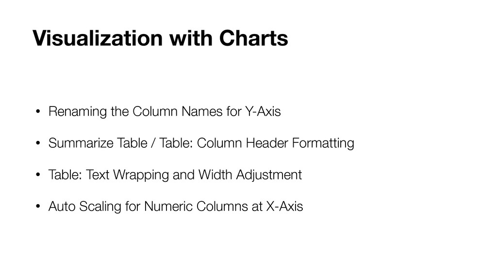 • Renaming the Column Names for Y-Axis • Summar...