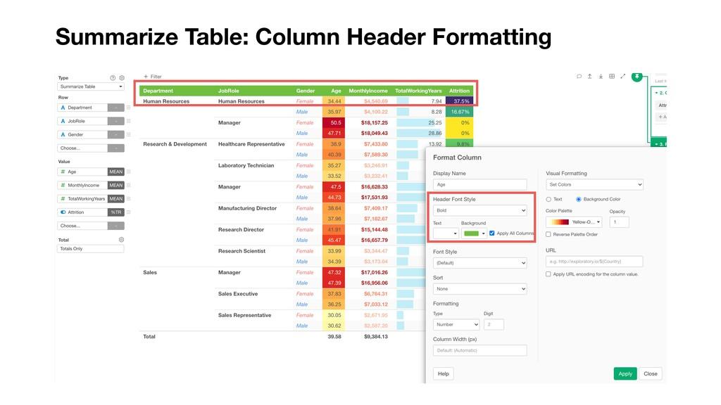 Summarize Table: Column Header Formatting