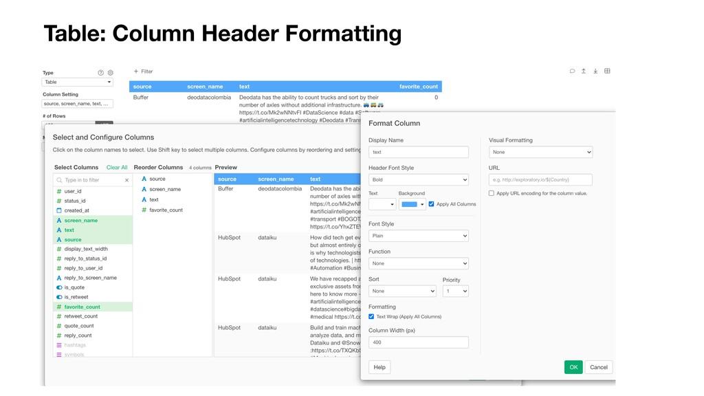 Table: Column Header Formatting