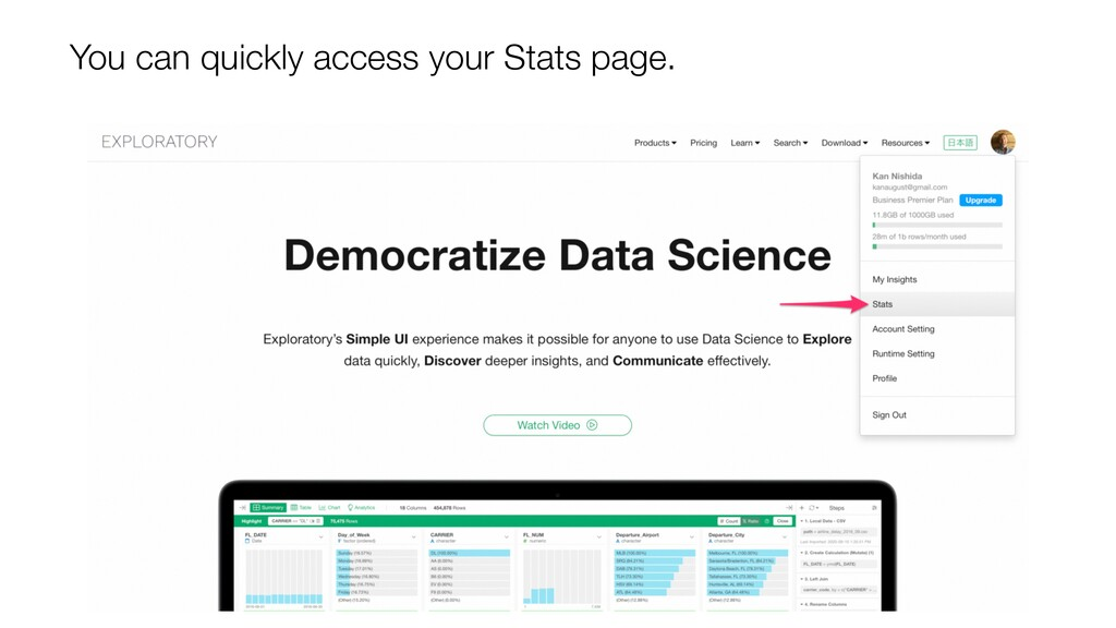 You can quickly access your Stats page.