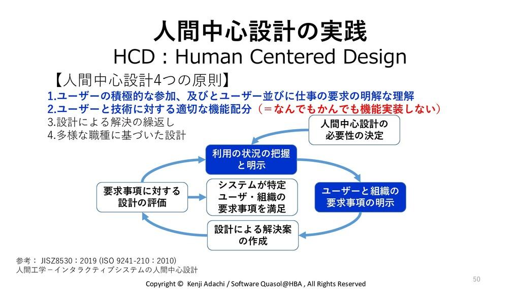 人間中心設計の実践 HCD:Human Centered Design 50 【人間中心設計4...