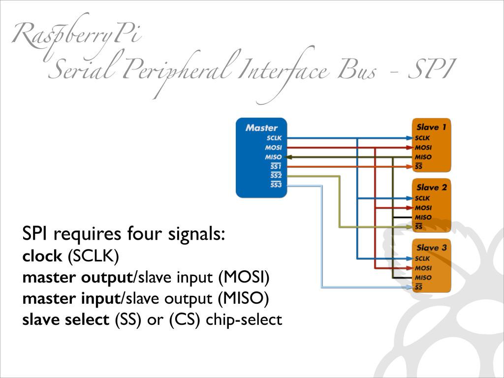SPI requires four signals:   clock (SCLK)  ...