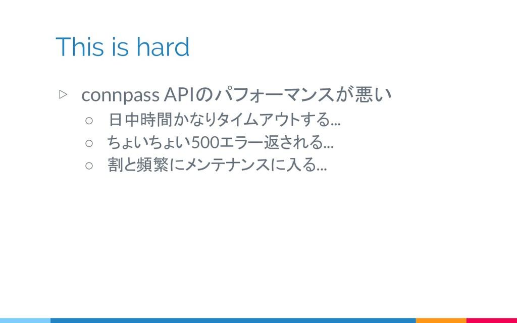 This is hard ▷ connpass APIのパフォーマンスが悪い ○ 日中時間かな...