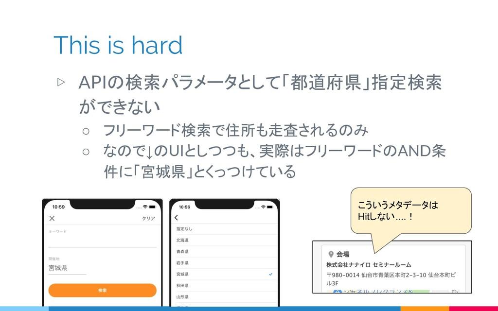 This is hard ▷ APIの検索パラメータとして「都道府県」指定検索 ができない ○...