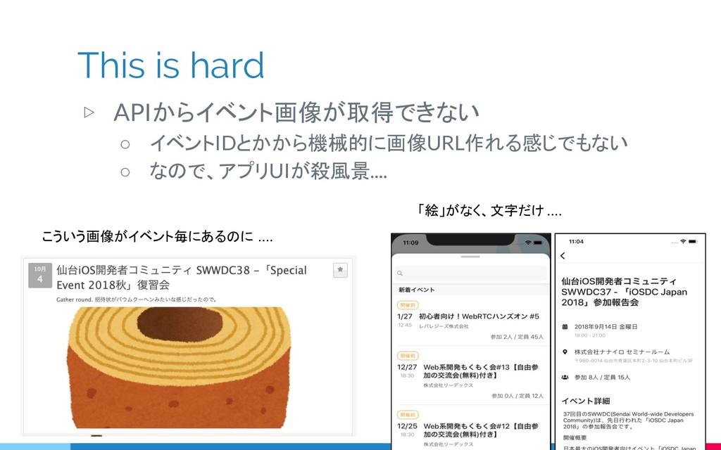 This is hard ▷ APIからイベント画像が取得できない ○ イベントIDとかから機...