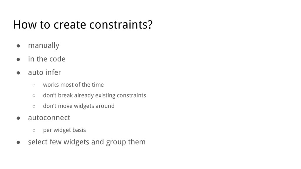 How to create constraints? ● manually ● in the ...