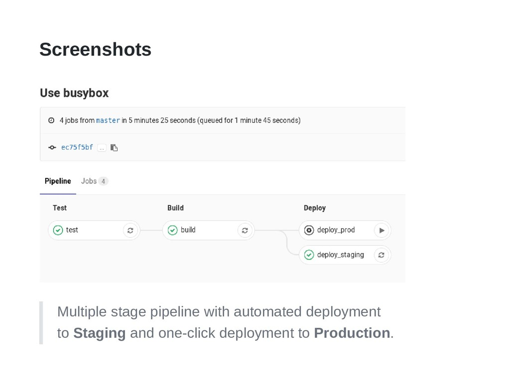 Screenshots Multiple stage pipeline with automa...