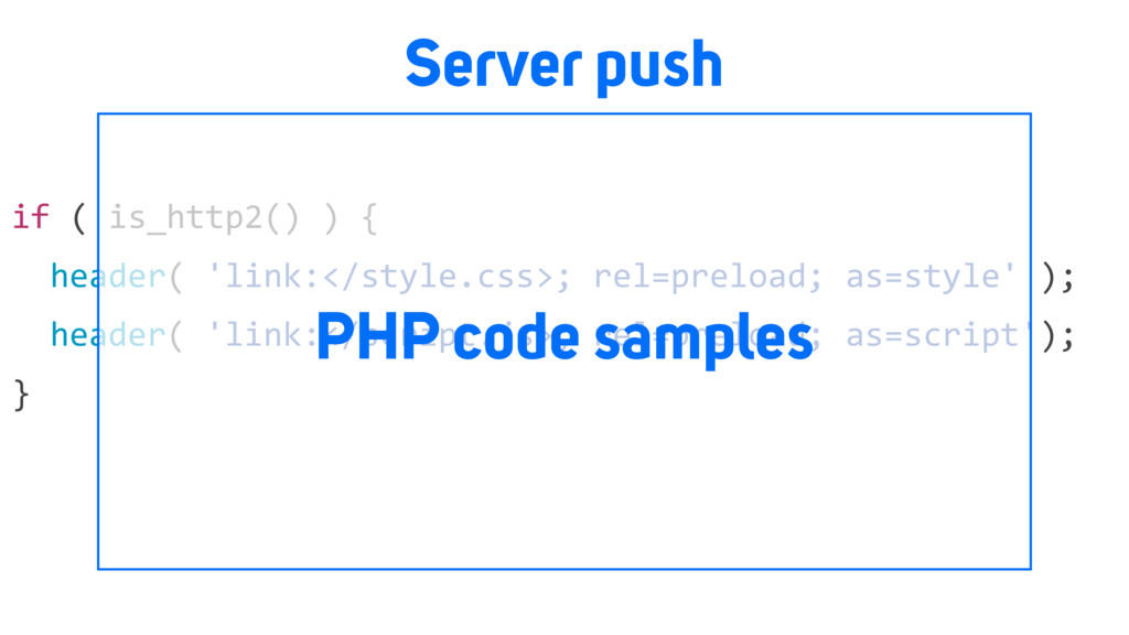 Server push if ( is_http2() ) { header( 'link:<...