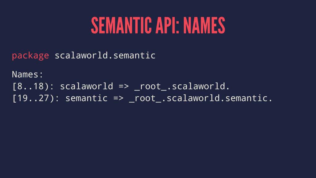 SEMANTIC API: NAMES package scalaworld.semantic...