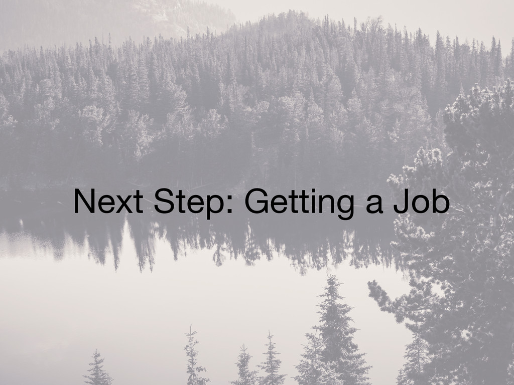Next Step: Getting a Job