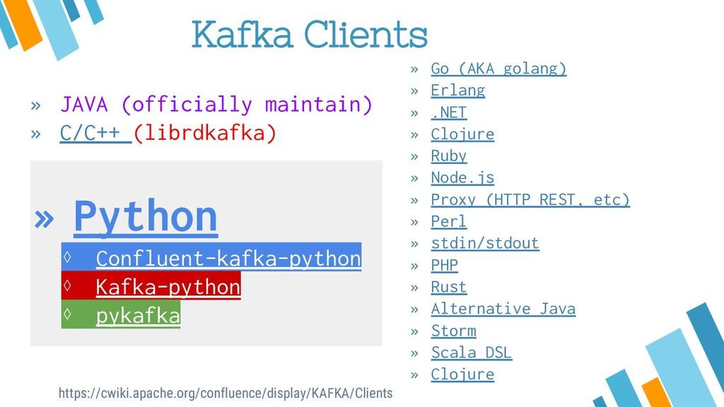 Kafka Clients » JAVA (officially maintain) » C/...