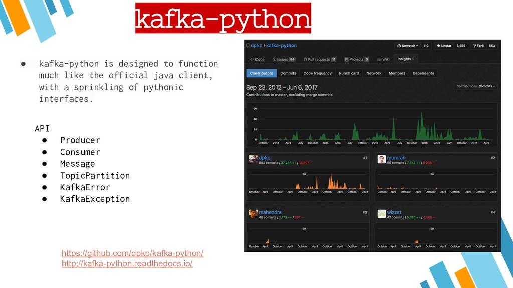 kafka-python https://github.com/dpkp/kafka-pyth...