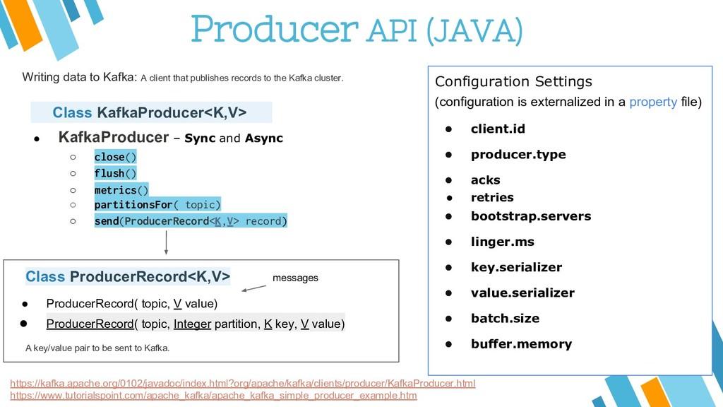Producer API (JAVA) https://kafka.apache.org/01...