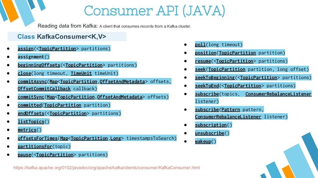 Consumer API (JAVA) https://kafka.apache.org/01...
