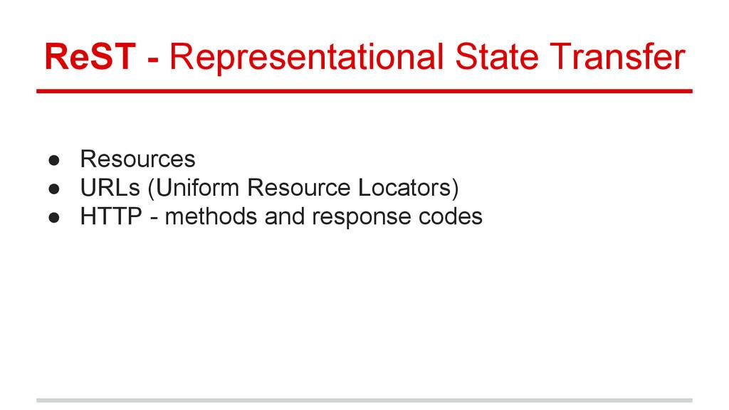 ● Resources ● URLs (Uniform Resource Locators) ...