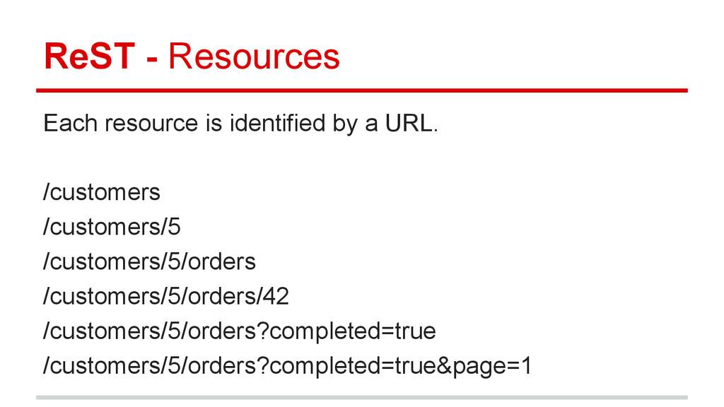 Each resource is identified by a URL. /customer...