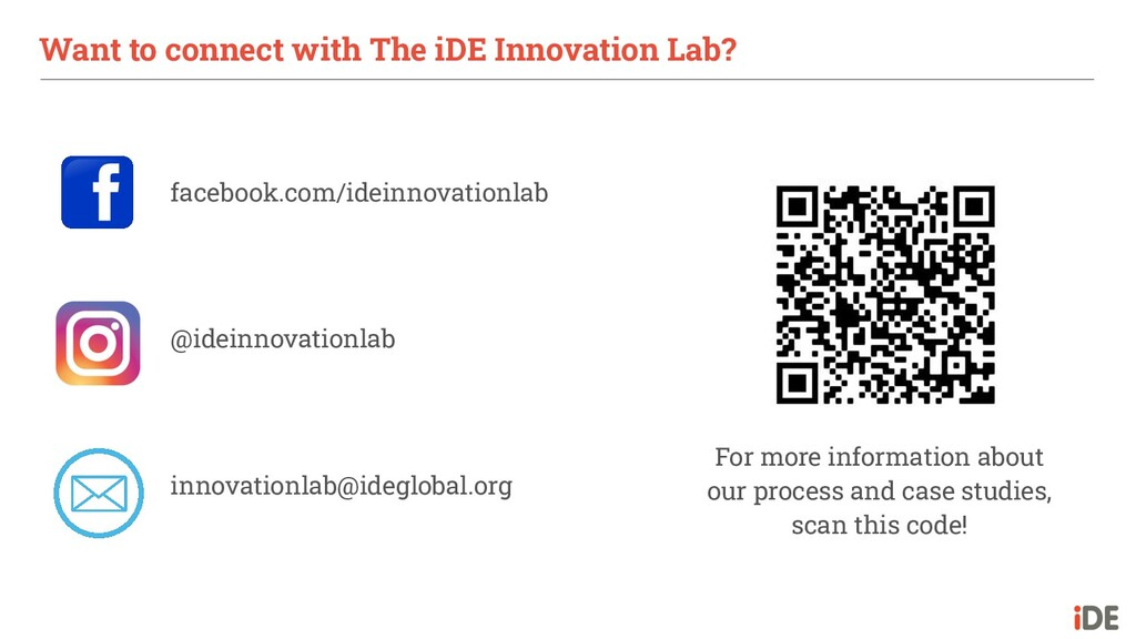 Want to connect with The iDE Innovation Lab? fa...
