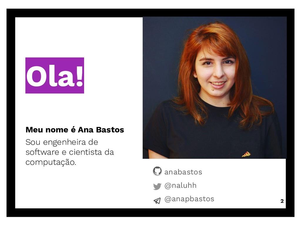 Ola! Meu nome é Ana Bastos Sou engenheira de so...