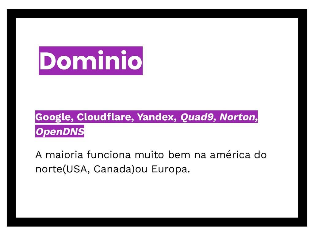 Dominio Google, Cloudflare, Yandex, Quad9, Norto...